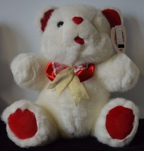 Valentine Stuffed White Plush Teddy Bear w/Red Accents, Bow & Heart Shap... - $6.49