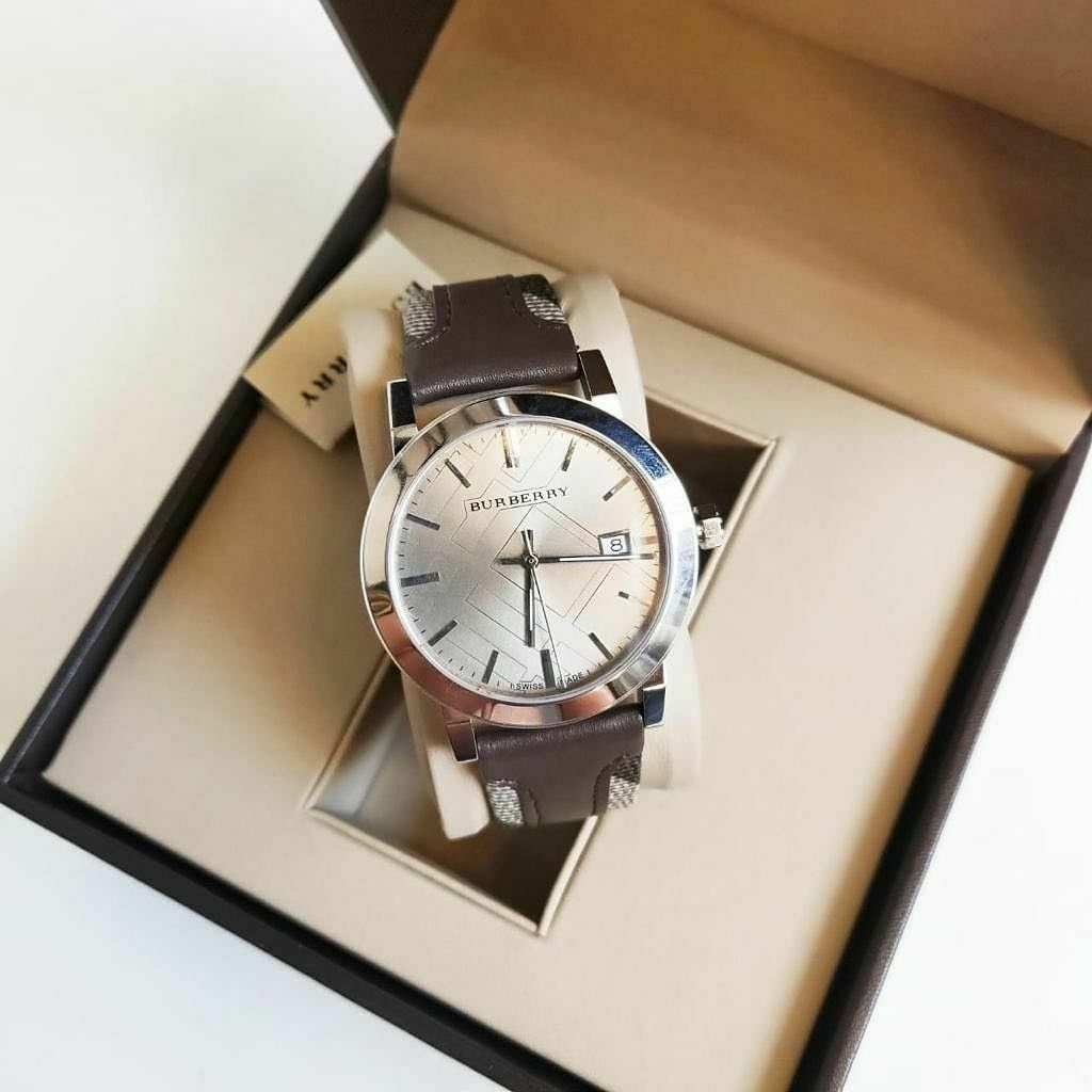 Burberry BU9020 Large Check Brown Leather Swiss Made Mens Watch