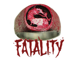 Mortal Kombat Sterling Silver Blood Spatter Fatality Tournament Game Rin... - $118.79