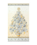 Winter's Grandeur 5 Christmas Tree Panel-Champagne Background-Silver & Gold - $9.95