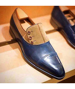 Men Handmade Navy Blue Tan Shoes, Mens Suede Leather Button Cap Toe Fash... - $159.97+