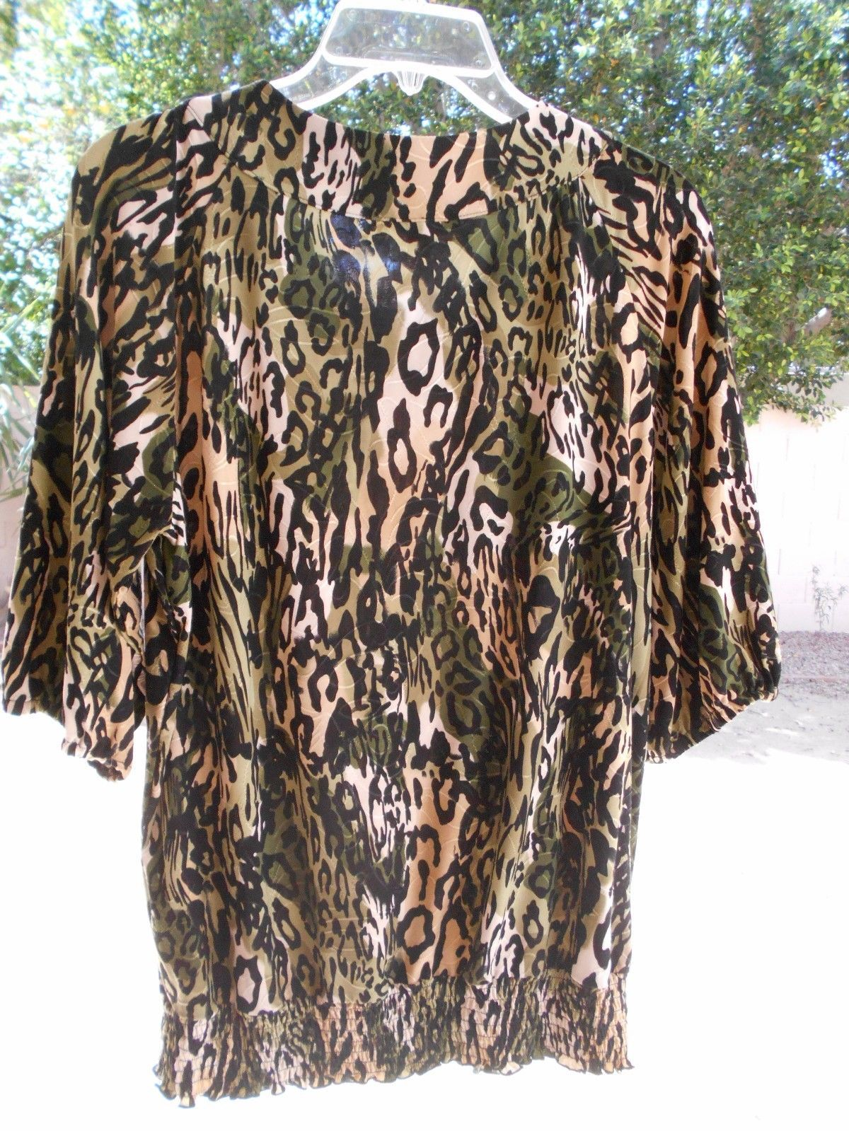 JM Collection Black BEADED ANIMAL PRINT SIZE MEDIUM Short Sleeve Blouse BANDED