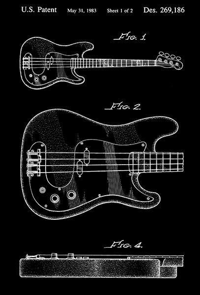 Primary image for 1983 - Electric Bass Guitar - G. Wilson - Patent Art Poster