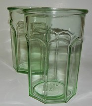 2 Green Depression Pre Anchor Hocking Glass Octagonal Tumblers Working G... - $59.39