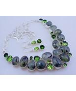 Prehnite-Peridot Silver Overlay Handmade Jewelry Necklace 109 Gr. F-240 - $34.00
