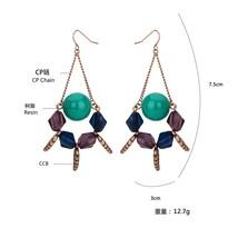 Vintage Eco Friendly Resin Crystal Dangle Chain Earrings Bohemian Acryli... - $25.99