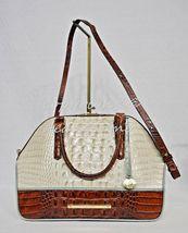 NWT Brahmin Hudson Satchel/Shoulder Bag in Linen Tri-Texture Beige, Pecan & Teal image 7