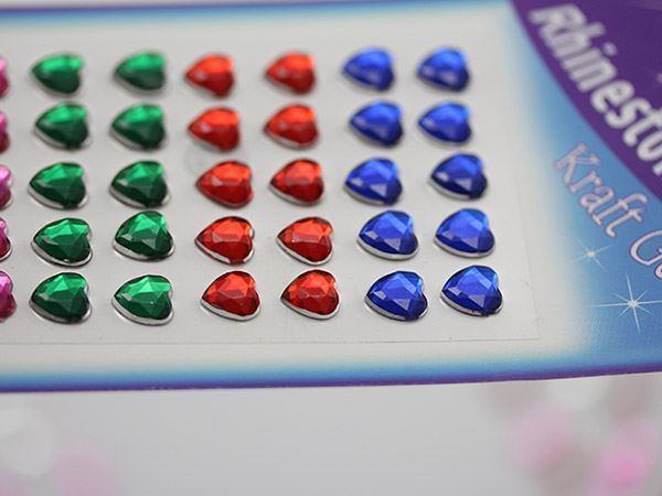 8mm Stick On Heart Gems For Face, Body and More! - 50 PCS