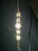 Womans Vintage Eastman Quartz Swiss Gold Tone Rhinestone studded dress W... - $20.69