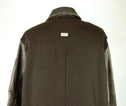 Marc Ecko Leather & Wool Heavy Bomber Jacket Brown Varsity Style Button Mens XL image 7