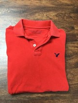 AMERICAN EAGLE Athletic Fit V-Neck Short Sleeve Red Polo Shirt Men's Siz... - $16.40