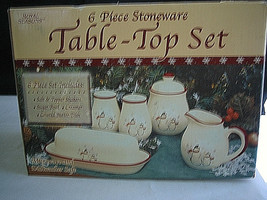 Royal Seasons Stoneware Snowmen / Snowman Table-Top Set Snowflakes red t... - $21.99