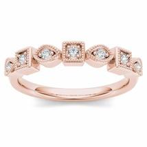 Genuine 10K Rose Gold 0.10 Ct Brillant Diamond Wedding Band - $229.99