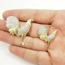 14K Solid Yellow / White Gold ROOSTER (chicken) Pendant / Charm Two Tone - $209.00+