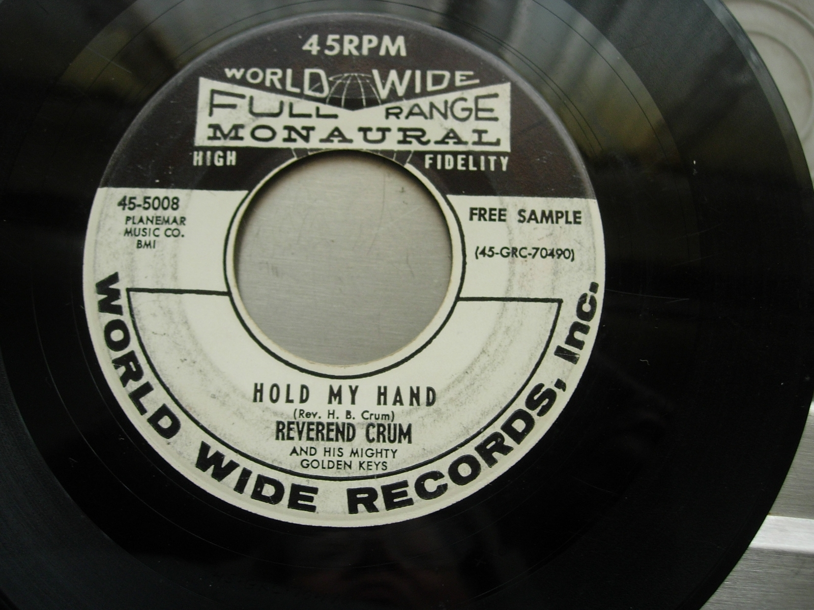 Reverend Crum - All Over Me / Hold My Hand - World Wide Records 45-5008