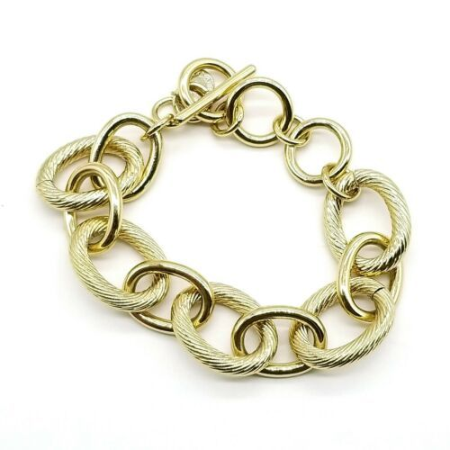 Talbots Signed Goldtone Chunky Textured Toggle Clasp Chain Bracelet - $14.54