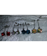 geometrical dangle blue clear red and rainbow dangle cube box square Mod  - $12.00