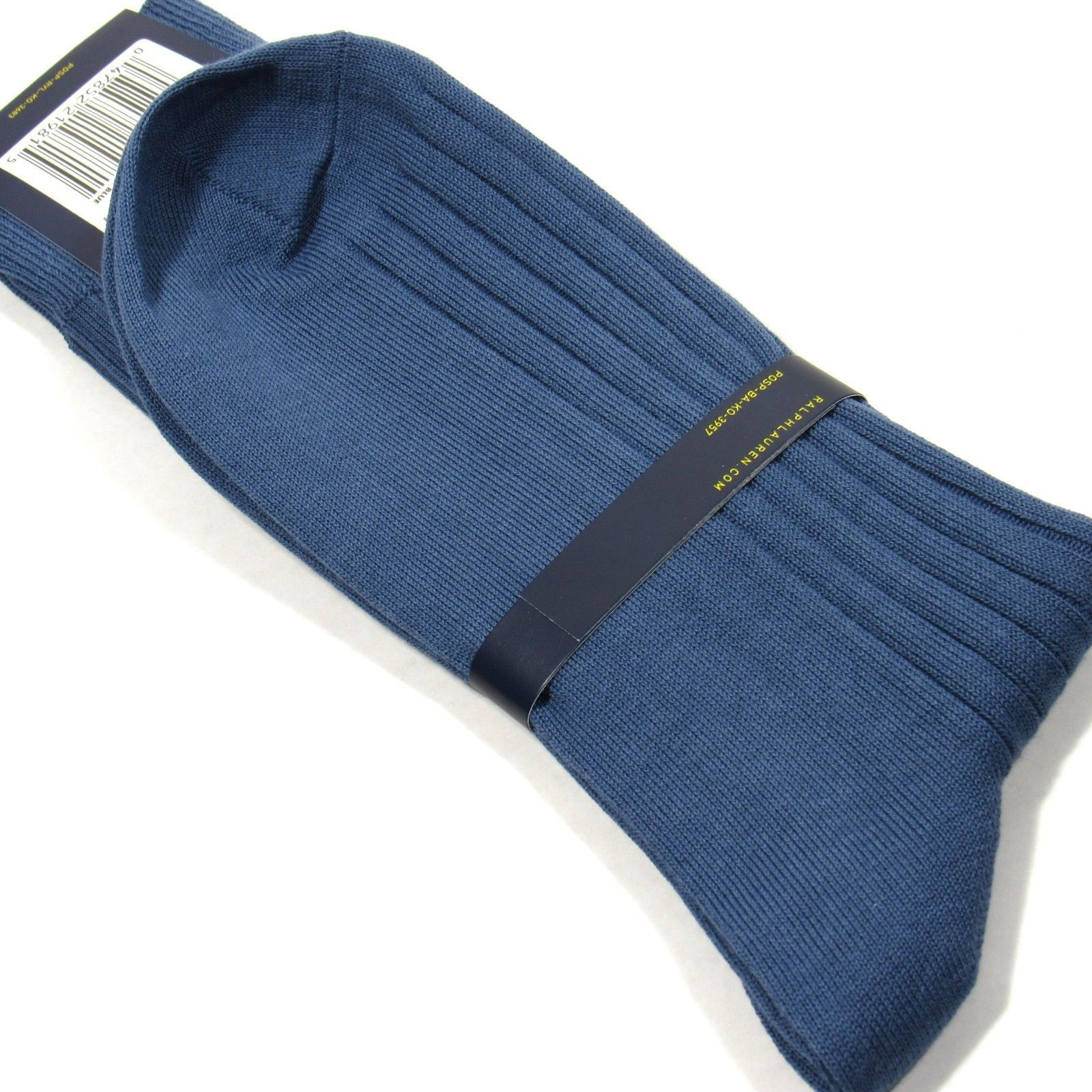 Polo Ralph Lauren Mens Dress Socks Ribbed w/Pony Embroidery Aegean Blue