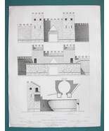 ARCHITECTURE PRINT 1850 - GREECE Gate Walls Fortifications of Messena - $8.99