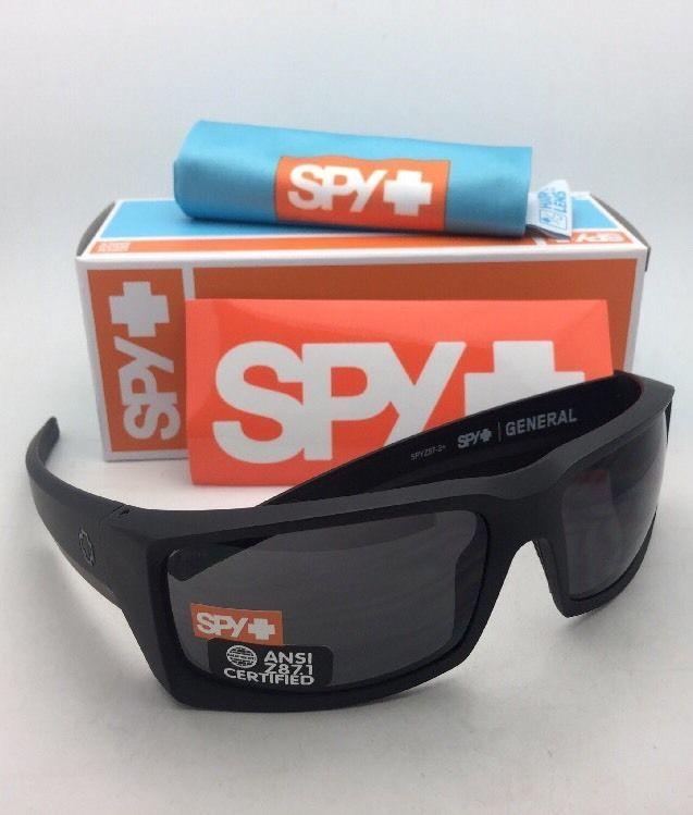2cbece837e329 New SPY OPTIC Sunglasses GENERAL Matte Black Frames with ANSI Z87.1 Grey  Lenses