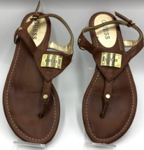 Guess Women's Thong Sandals Brown Size 6.5M Gold Guess Brand Metal Tag - $19.98