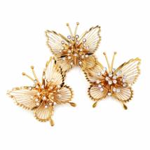 Vintage Monet Butterfly Brooches  Rhinestone Sprays  Retro Glam Style  S... - $39.00
