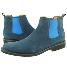 Blue Color Suede Leather Chelsea Jumper Slip Ons Party Wear Black Sole Men Boots image 2