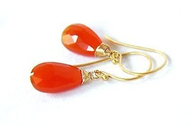 Natural Orange Carnelian Gem Briolette Drop Earrings in 24K Yellow Gold ... - $53.02