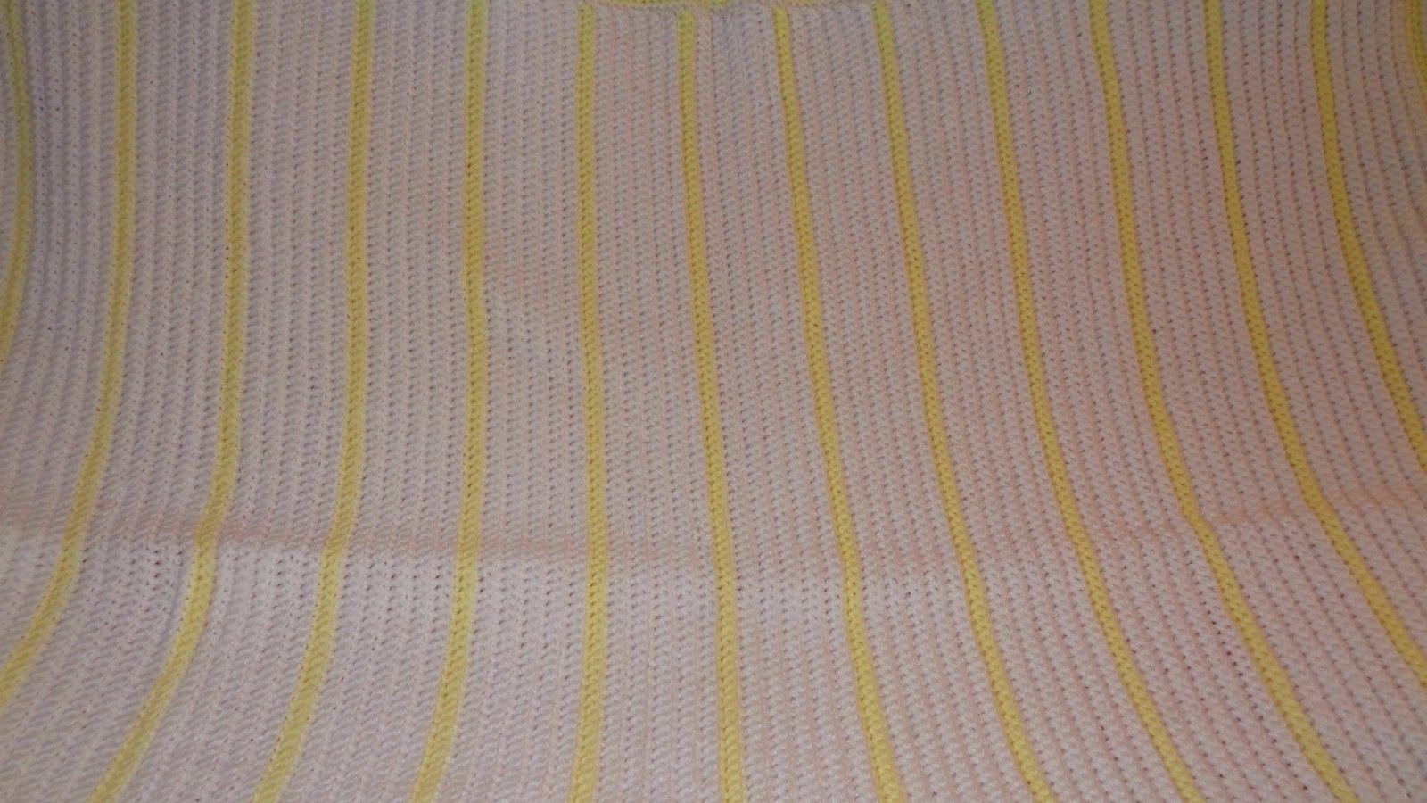 Handmade Crochet Baby Girl Boy Blanket Afghan White Yellow Unisex Newborn Stripe