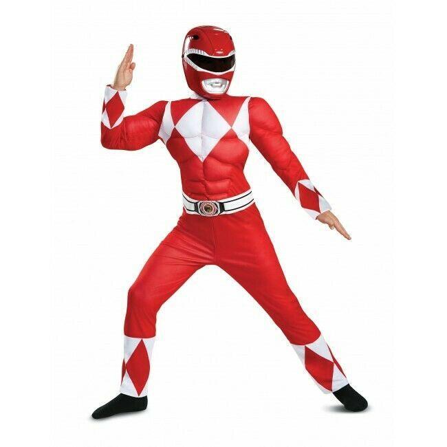 Disguise Potencia Rangers Rojo Muscle Poderoso Morphin Niños Disfraz Halloween