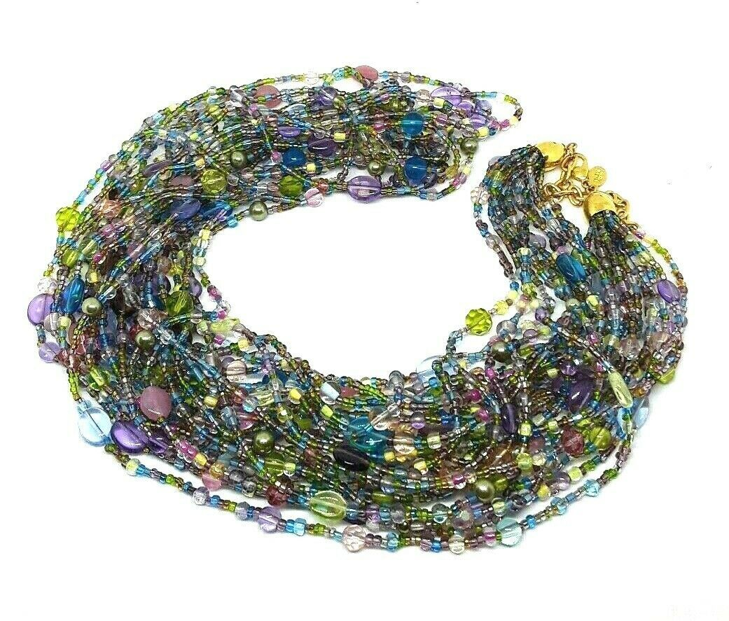 "JOAN RIVERS Blue Green Pink Multi Strand Torsade 40"" Beaded Necklace EUC image 2"