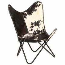 vidaXL Genuine Goat Leather Butterfly Chair Black White Armchair Furniture - $144.99