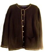 Karen Scott II Black Wool Blend Sweater Jacket White Accents Long Sleeve... - $23.74