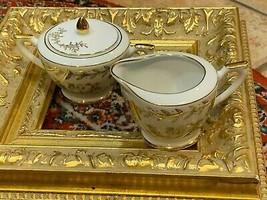VINTAGE SUGAR & CREAMER LEFTON CHINA 50TH WEDDING ANNIVERSARY GOLD 274N ... - $17.96