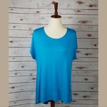 New MOA size XL womens blue short sleeves scoop neck hi lo hem top tunic - $9.90