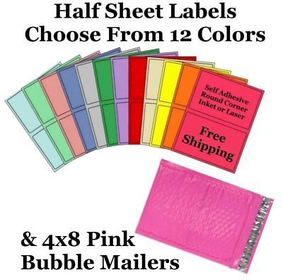4x8 ( Pink ) Poly Bubble Mailers + Half Sheet Self Adhesive Shipping Labels