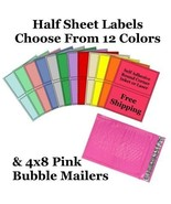 4x8 ( Pink ) Poly Bubble Mailers + Half Sheet Self Adhesive Shipping Labels - $2.99+