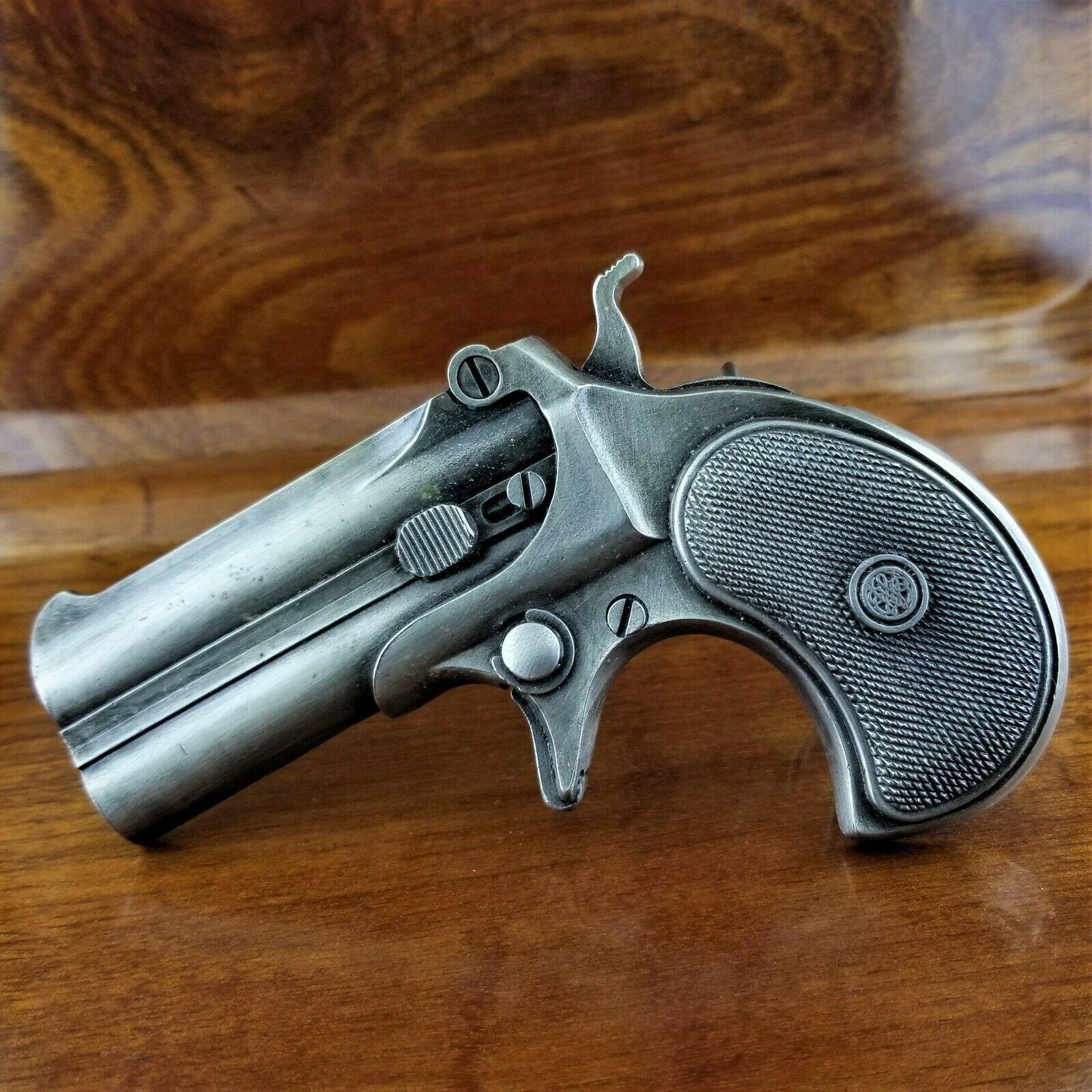 Vintage 1978 Bergamot Brass Works F-156 Derringer Hand Gun Pistol Belt Buckle