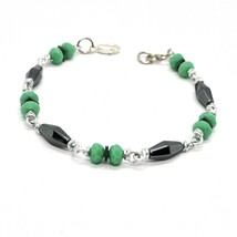 BRACELET THE ALUMINIUM LONG 19 CM WITH HEMATITE AND CRYSTAL GREEN image 2