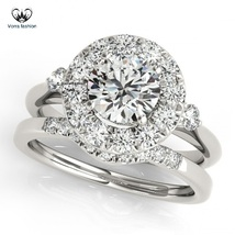 Solitaire Bridal Ring Set Round Cut CZ White Gold Plated 925 Silver For Women's - $89.99