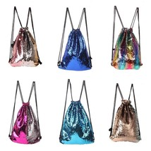 Sequin Drawstring Backpack Women Shoulder Bag Glitter Girl Sport Travel ... - ₹1,366.82 INR