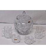 Vintage West Germany Echt Bleikristall Cut Crystal Punch Bowl Set - $148.50