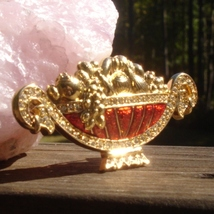 Vintage trifari red enameled pave crystal 1996 fruit bowl brooch pin3 thumb200