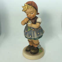 HUMMEL FIGURINE VINTAGE GERMANY TMK6 CROWN 380 DAISIES DONT TELL SIGNED ... - $64.35