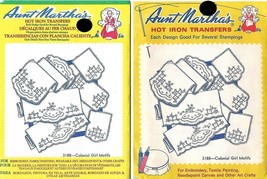 Colonial Girl Motifs Aunt Martha's Hot Iron Transfers #3188 lot of 2  - $3.95