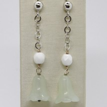 Earrings Silver 925 Tried and Tested Hanging with Jade Green Bell Campanula image 1