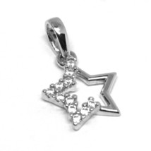 18K WHITE GOLD CHARM PENDANT, STAR WITH CUBIC ZIRCONIA, ALTERNATE, MADE IN ITALY image 1