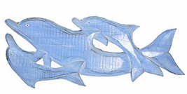 New LG Hand Carved Blue White WASH Wood Dolphin Family Wall Art Hanging Tropical - $29.64