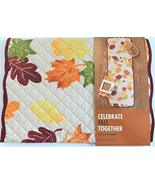 Celebrate Fall Together Thanksgiving Autumn Fall Leaves Print 36-Inch Qu... - $24.21