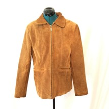 St Johns Bay Womens Washable Suede Jacket Medium Leather Brown - €21,41 EUR